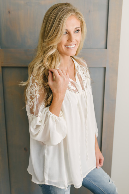 Giselle Lace Detail Peasant Top - Cream