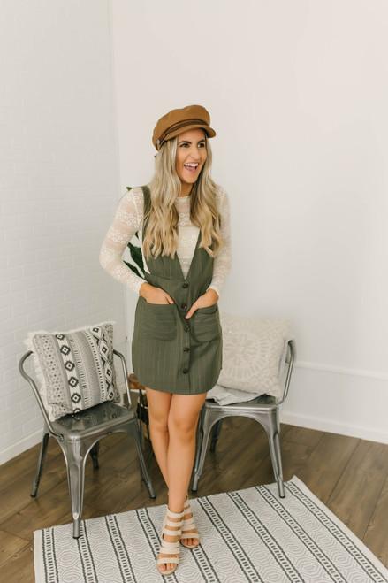 Hallie Pinstripe Button Down Dress - Olive