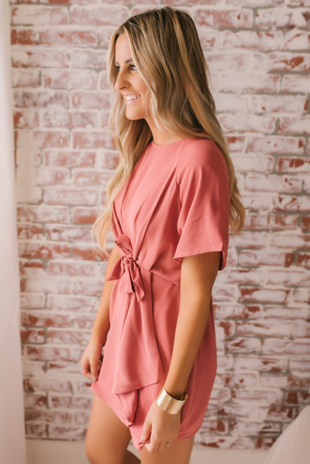 Short Sleeve Knotted Detail Dress - Salmon