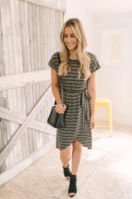 Madison Tie Waist Striped Jersey Dress - Black/Taupe