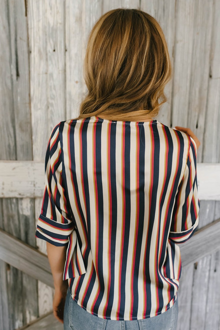 Tie Sleeve Satin Striped Wrap Top - Navy Multi Pre-Order