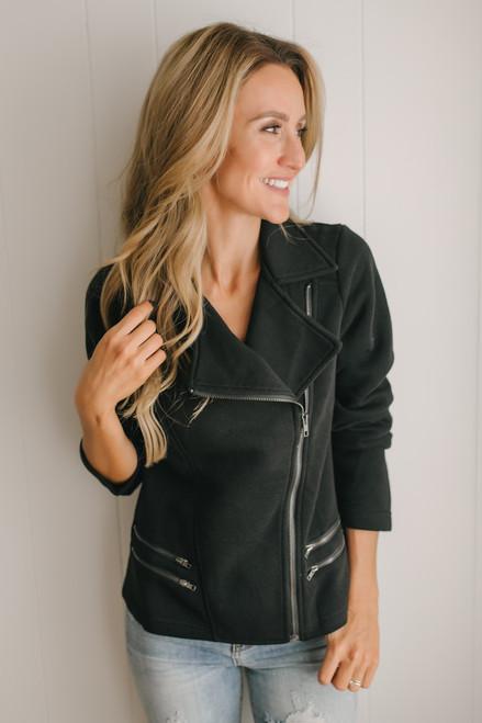 Sweet Little Lies Fleece Moto Jacket - Black