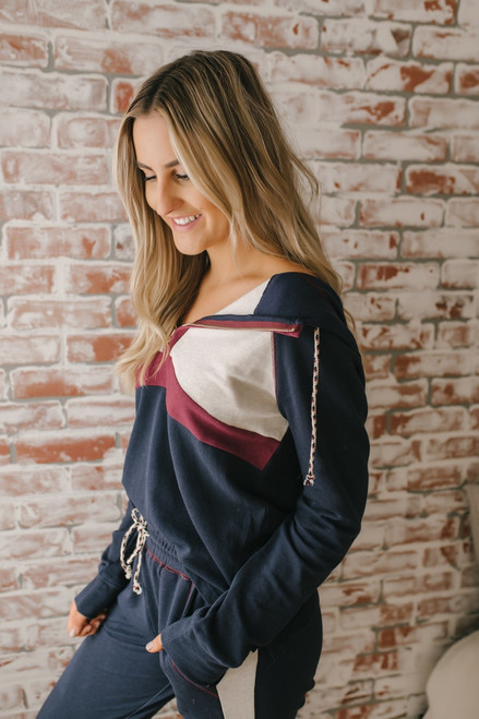 Southern California Colorblock Hoodie - Navy Multi - FINAL SALE