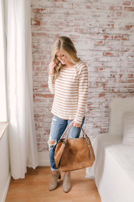 Lace Up Detail Striped French Terry Top - Brick/Cream