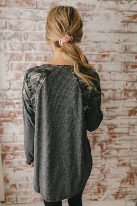 Camo Detail Ribbed Knit Top - Charcoal Multi
