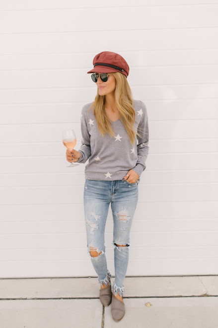 All the Stars Align V-Neck Sweater - Heather Grey  - FINAL SALE