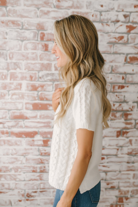 First Fall Short Sleeve Cable Knit Sweater - Cream - FINAL SALE