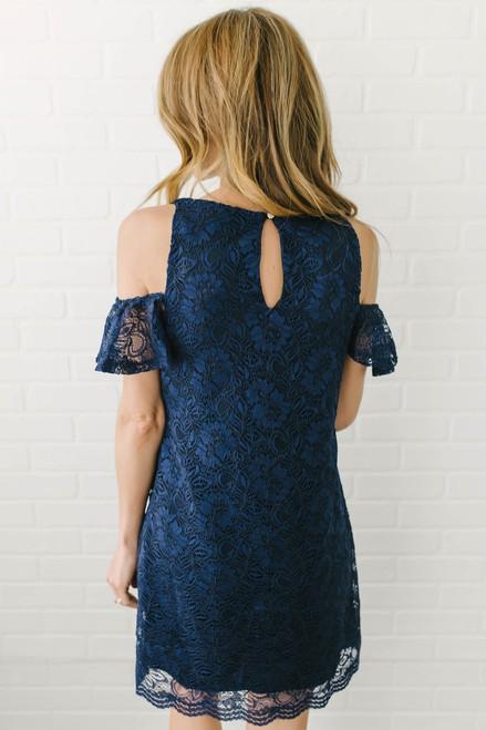 Everly Cold Shoulder Lace Shift Dress - Navy