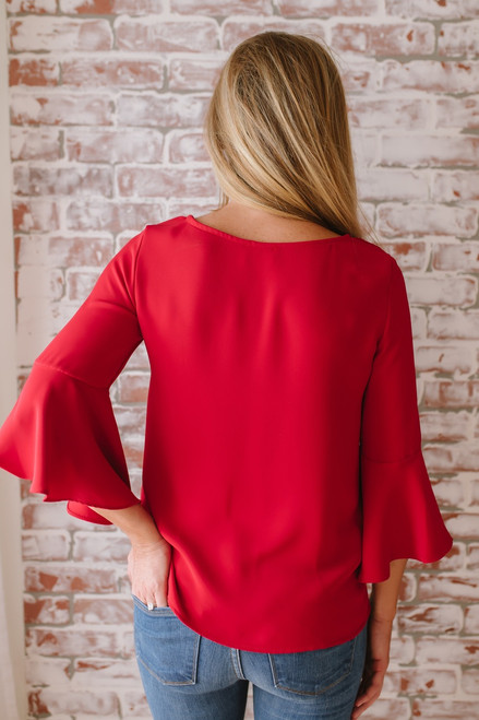 Everly Love Story Bell Sleeve Top - Red