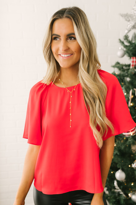 Everly Brighter Days Woven Top - Red