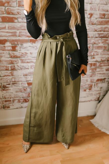 Tie Waist Wide Leg Paperbag Pants - Olive