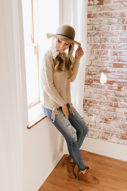Smoky Mountain Lace Up Detail Sweater - Taupe