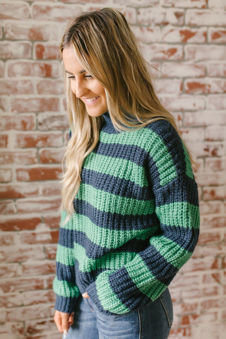 Hawthorne Hall Mock Neck Colorblock Sweater - Navy/Green