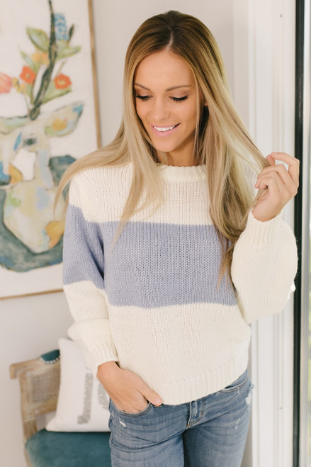 Hit the Slopes Colorblock Sweater - Ivory/Periwinkle