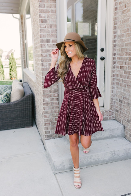 Everly Bettie Polka Dot Dress - Burgundy