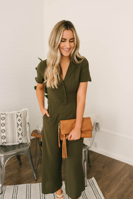 Everly Button Down Cropped Jumpsuit - Olive