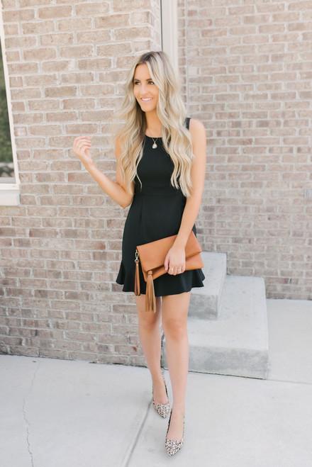 Everly Sutton Ruffled Hem Dress - Black