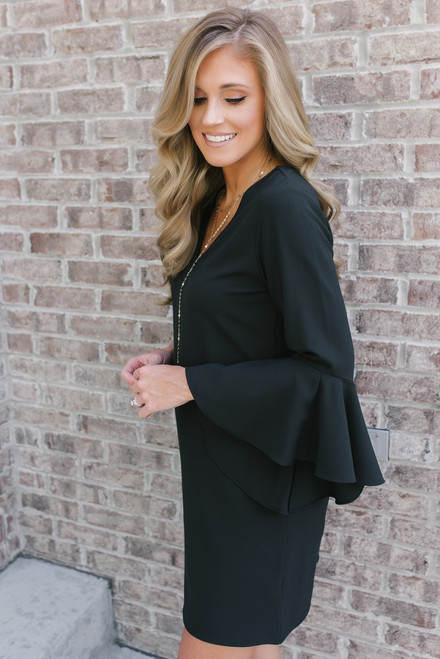 Everly Tapered Bell Sleeve Shift Dress - Black