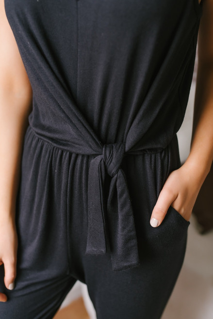 Everly Lena V-Neck Knotted Jumpsuit - Black