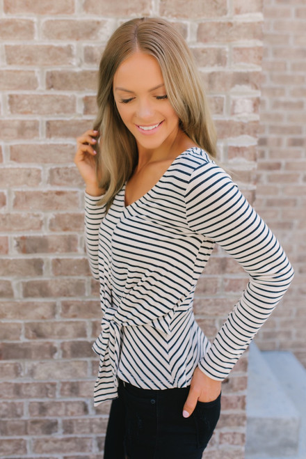 Everly Striped Jersey Knot Top - Cream/Black