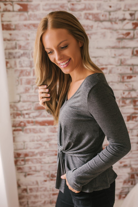 Everly Solid V-Neck Knot Top - Charcoal