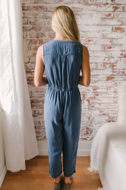 Everly Vintage Wash Cropped Jumpsuit - Faded Navy