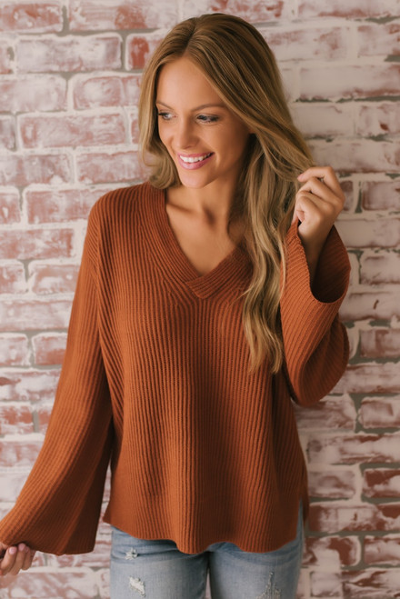 Everly Ribbed V-Neck Sweater - Gingerbread
