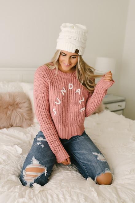 Sundaze Frayed Scalloped Sweater - Mauve