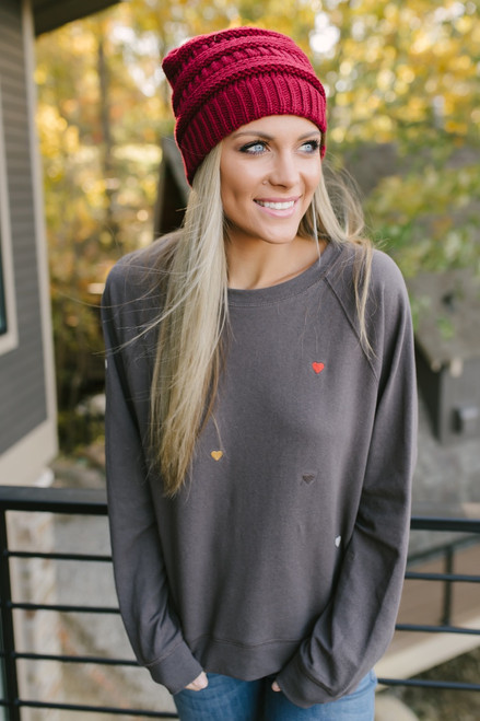 Adelaide Embroidered Hearts Sweatshirt - Charcoal Multi