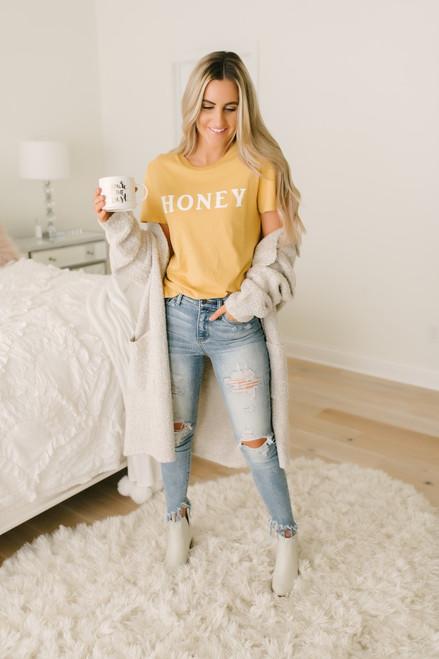 Honey Bear Graphic Tee - Mustard