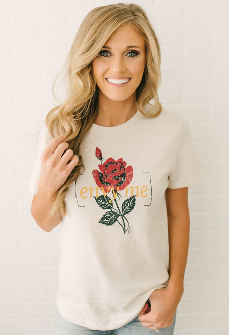 Envy Me Graphic Rose Tee - Clay