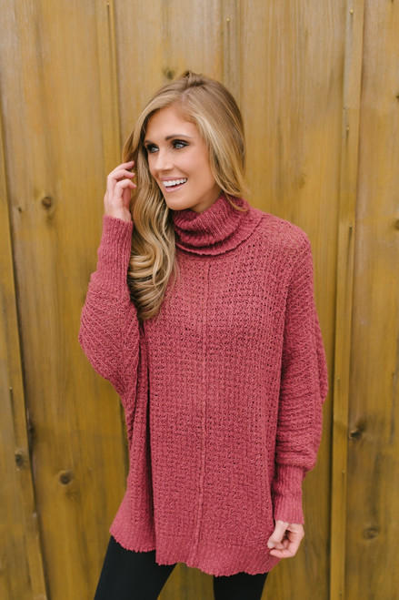 Open Knit Turtleneck Tunic Sweater - Canyon Brick