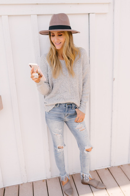 Open Knit Knot Back Sweater - Heather Grey
