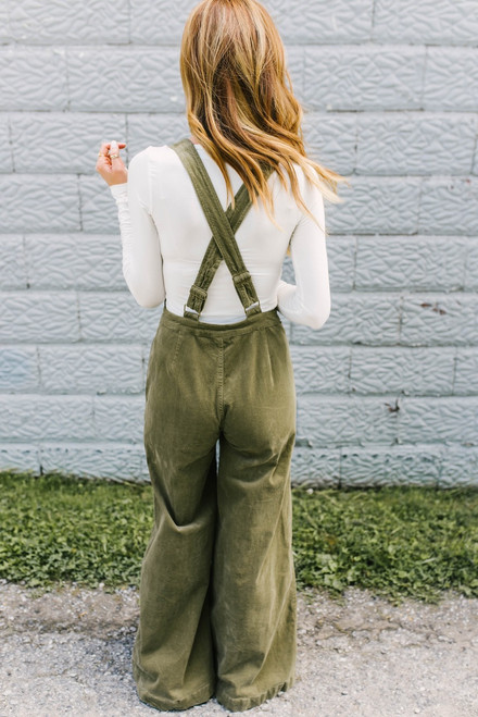 All the Right Moves Corduroy Overalls - Olive