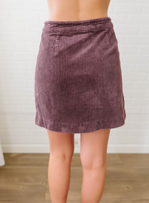 Across the Universe Corduroy Zip Up Skirt - Purple
