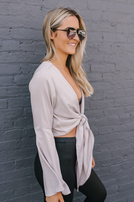 Elena Bell Sleeve Tie Front Top - Champagne  - FINAL SALE