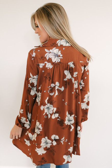 Wildflower Meadow Floral Tunic Top - Chestnut