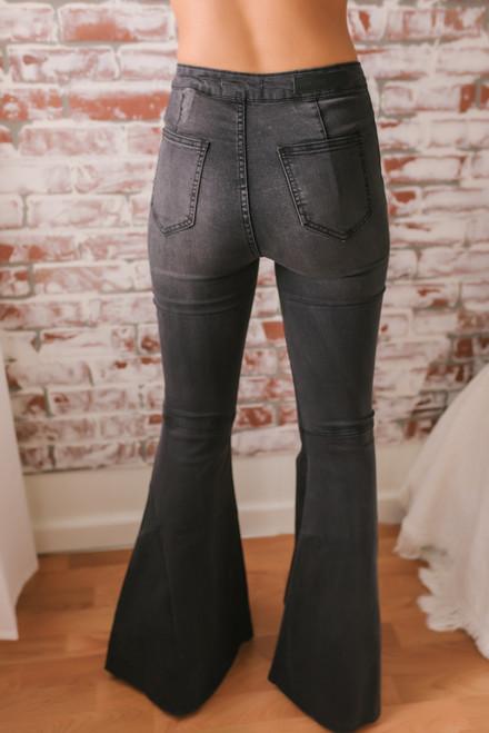 Distressed Hem Faded Flare Jeans - Black  - FINAL SALE