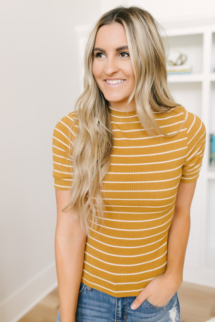 Heart of Gold Ribbed Knit Striped Top - Mustard/White