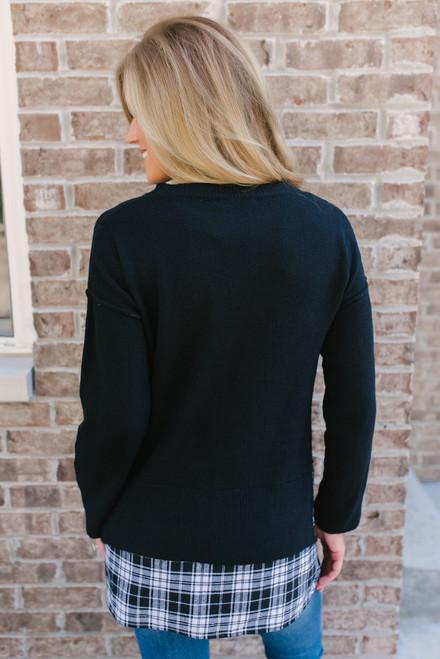 Seam Detail Plaid Hem Sweater - Black