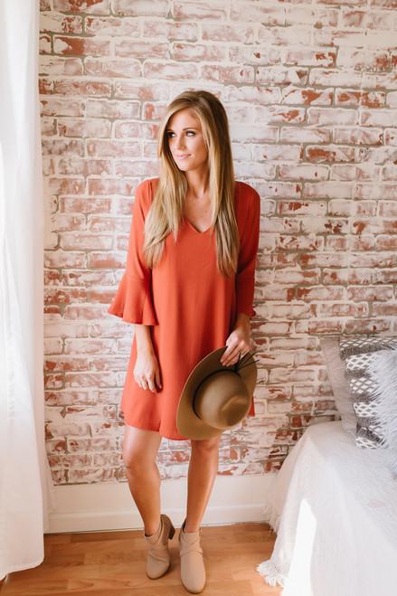 V-Neck Peplum Sleeve Shift Dress - Rust  - FINAL SALE