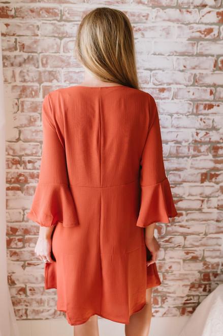 V-Neck Peplum Sleeve Shift Dress - Rust