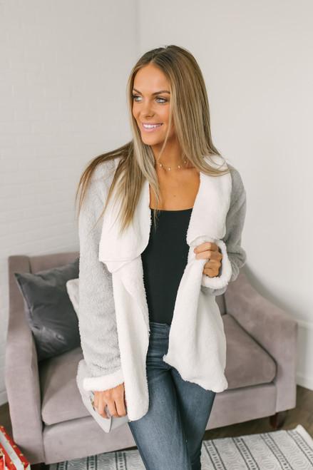 Autumn Air Cozy Colorblock Jacket - Ivory/Grey