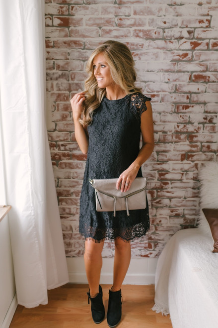 New Romantics Crochet Sleeve Lace Dress - Black
