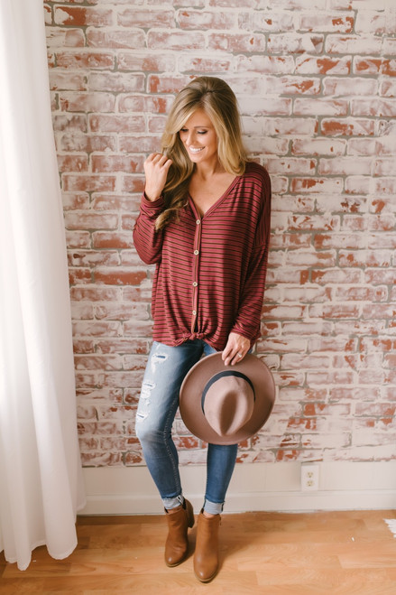 Fall Feels Striped Button Down Knot Top - Wine Multi