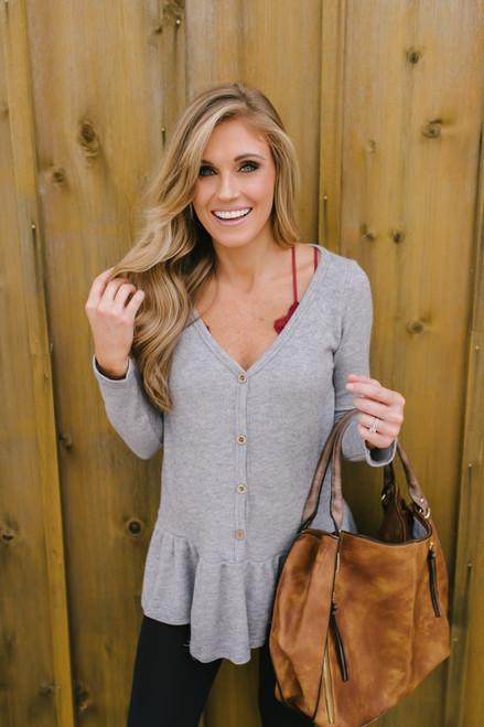 Harvest Moon Button Down Peplum Sweater - Heather Grey  - FINAL SALE