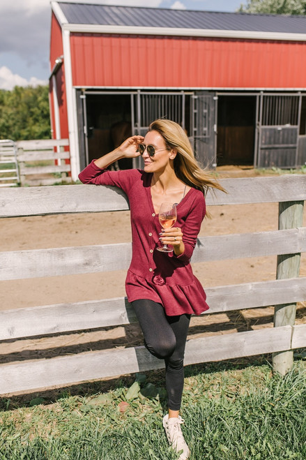 Harvest Moon Button Down Peplum Sweater - Burgundy - FINAL SALE