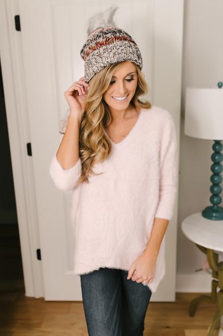 City of Love Fuzzy Dolman Sweater - Blush