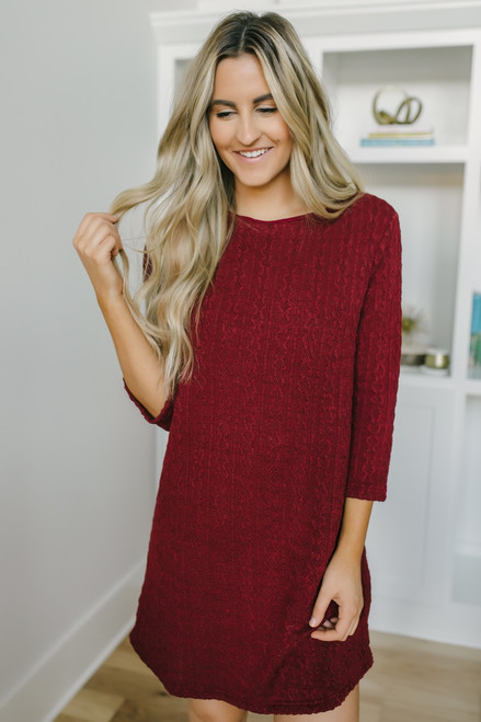 Wrapped in Love Cable Knit Dress - Burgundy