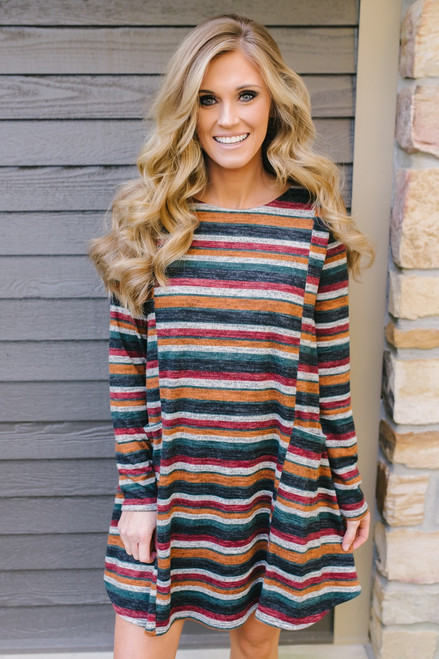 Fall Festival Striped Pocket Dress - Burgundy Multi